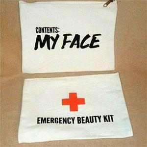 Handbags - Canvas 'Emergency' & 'My Face' Makeup Bags